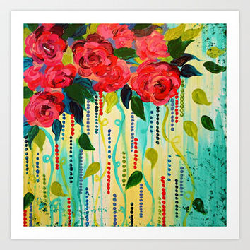 ROSE RAGE Stunning Summer Floral Abstract Flower Bouquet Feminine Pink Turquoise Lime Nature Art Art Print by EbiEmporium