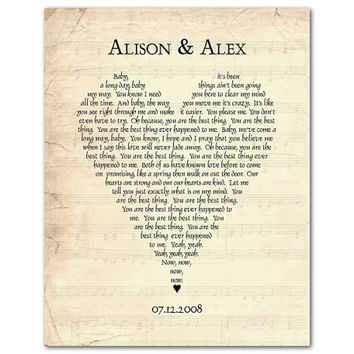Any Song Lyrics Customized Wedding Anniversary Gift First Dance Vows