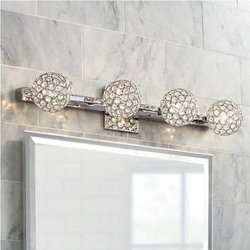 "Tiara Crystal Sphere 28"" Wide 4-Light Chrome Bath Light - #7G240 
