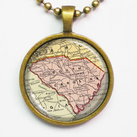 State Map Necklace - South Carolina -Vintage Map Series