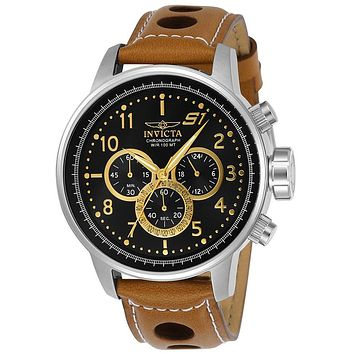 INVICTA S1 Rally Mens Chronograph - Black Dial - Two-Tone - Tan Leather Strap