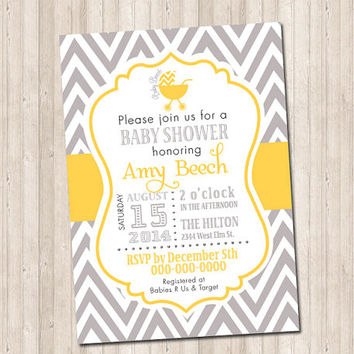Custom Yellow & Gray Chevron Baby Shower Invitation with carriage