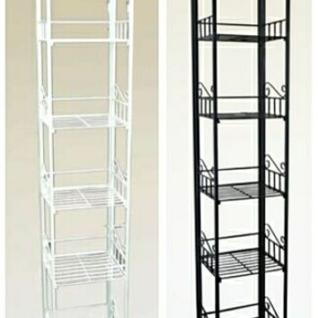 White or black finish metal 5 tier plant stand