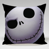 nightmare before christmas face Square Pillow Case Custom Zippered Pillow Case one side and two side