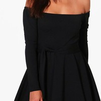 Melissa Off Shoulder Tie Waist Skater Dress | Boohoo