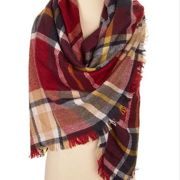 Oversize Blanket Scarf Plaid Scarf Women Wraps Shawls Trending Items - By PiYOYO