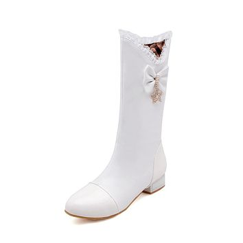 Bow Tie Mid Calf Boots Winter Shoes for Woman 4571