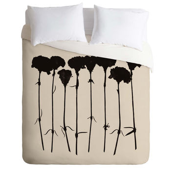 Garima Dhawan Carnations Black Duvet Cover