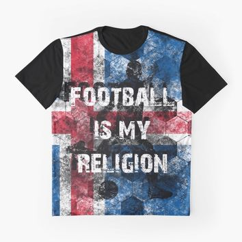 """Football is my religion - Island"" Graphic T-Shirt by ValentinaHramov 