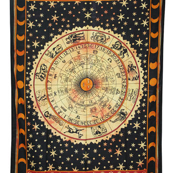Twin ASTROLOGY Zodiac Hippie Hippy Wall Hanging Indian Tapestry tie dye Bedspread Boho Ethnic Single mandala tapestry home decor tapestries