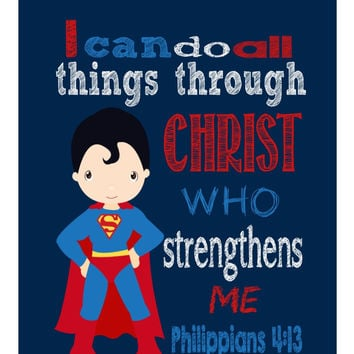 Superman Christian Superhero Nursery Decor Art Print - I Can Do All Things Through Christ Who Strengthens Me - Philippians 4:13 - Multiple Sizes