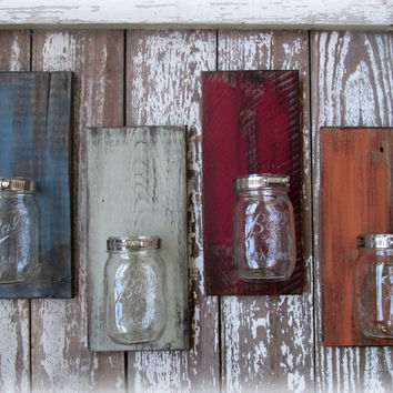Mason Ball Jar Reclaimed Wood Wall Sconce - Pick a Color
