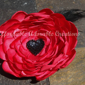 Deep Red Satin Fabric Hair Flower or Brooch Pin - Handmade from Satin Fabric - with Black Accents