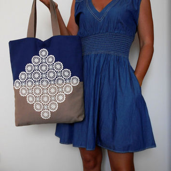 Canvas Tote Bag, Lace Tote Bag , Navy And Brown Tote Bag, Everyday Bag, Summer Bag