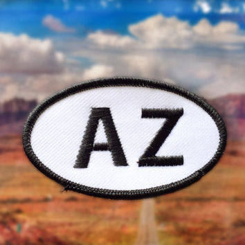"Arizona AZ Patch - Iron or Sew On - 2"" x 3.5"" - Embroidered Oval Appliqué - Grand Canyon State - Black White Hat Bag Accessory Handmade USA"