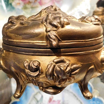 Antique Jewelry Casket BW Brainard  Wilson 1900s Art Nouveau Gold Plated Ormolu Footed Metal Trinket Box Victorian Edwardian Vanity Boudoir