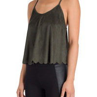 Olive Suede Scalloped Top-FINAL SALE