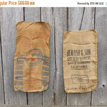 SALE 2 Vintage burlap gunny sack bags, Swifts Swine Concentrate Chicago, Ben Fish & Son Seed Bean Growers Santa Barbara, Advertising Collect