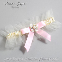 "Ivory and Light Pink Tulle Wedding Garter Bridal Garter ""Natalie"" Silver 871 Ivory 145 Light Pink Prom Luxury Garter Plus Size & Queen Size"