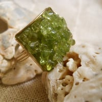 Green Peridot Chip Clutser Adjustable Square Ring Mother's Day Easter Spring Summer Birthday