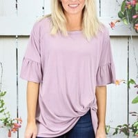 Get Twisted Ruffle Sleeves Modal Top {Mauve}