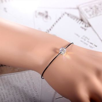 925 sterling silver bracelets handmade fashion simple design bracelets bead-crystal leather rope charms fine jewelry
