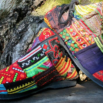 Womens Boots In Ethnic Hmong Patchwork, Embroidered, Vegan Ankle Boots - Amber