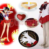 New Another Me Anime Sailor Moon Hino Rei/Sailor Mars Super S Cosplay Costume