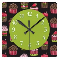 Cute Pink and Green Cupcakes on Brown Square Wall Clocks