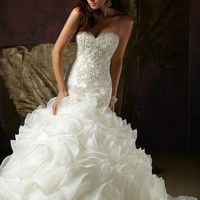 2014 Hot Sale  Elegant Mermaid Sweetheart Beaded Organza Chapel Wedding Dress Wedding Gown Custom-made