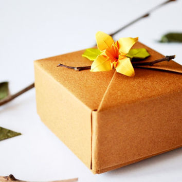 Small Light Brown Jewelry Gift Box with Orange Origami Flower and Leaf Ornament, with Gift Tag