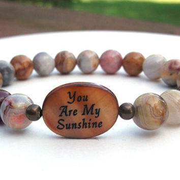 You Are My Sunshine, Personal Bracelet, Sentiment Bracelet, Gift for Daughter, Wife, Girlfriend, Stone Bracelet