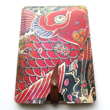 Leather kindle 2 and 3 case  Tattoo Koi design by tovicorrie