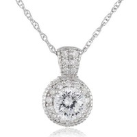 "Platinum-Plated Sterling Silver ""Clarion"" Round Cubic Zirconia Pendant Necklace"