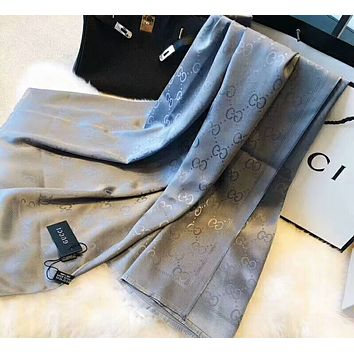 GUCCI Popular Women Men Simple Silk Scarf Silk Kerchief Cape Scarf Scarves Grey Blue I-YH-FTMPF