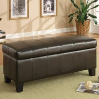 HomeHills 22471PU Faux Leather Lift Top Storage Bench