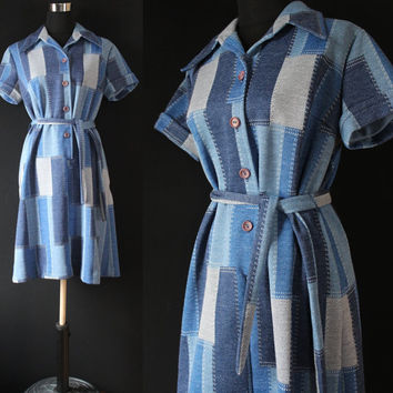Vintage 70s day dress patch work dress blue dress denim look vintage dress church dress school dress EPSTEAM polyester dress