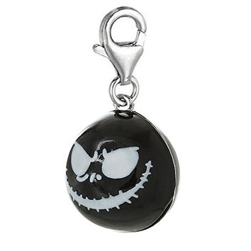 Nightmare Before Christmas Halloween Skull Bell Clip On Pendant for European Charm Jewelry w/ Lobster Clasp