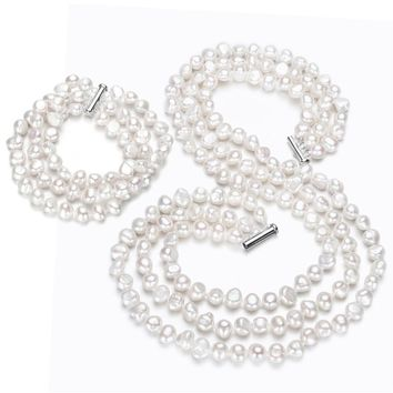 SNH 7mm baroque AA 925silver Classic white 3 strand Baroque freshwater pearl necklace and Bracelet Set
