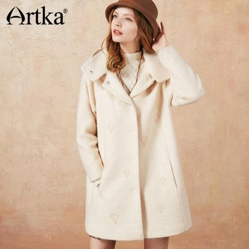 Artka 2018 Autumn&Winter Vintage Elegant Embroidery Long Fake Two Pieces Wool Coat Jacket F110077Q