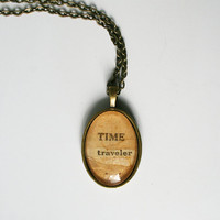 Time traveler pendant necklace Dr. Who accessory vintage upcycled sci-fi collage jewelry Jules Verne