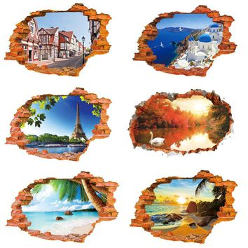3D landscape break hole wall stickers decal scenery artificial beach poster wallpaper home living room bedroom saloon decoration