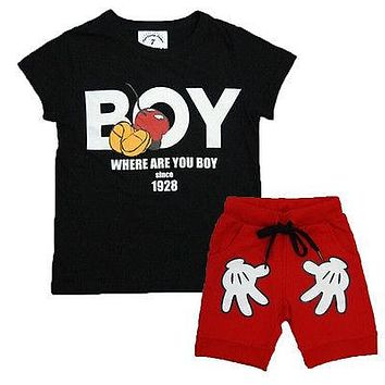 Hot sale new Lovely Baby Kids Boys Girls Minnie Mouse clothes 2pcs T-Shirt + Shorts suits cartoon children's clothing sets