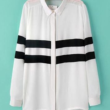 Womens Striped Shirt - Asymmetrical Chiffon Tunic with Horizontal Stripes
