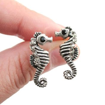 Realistic Seahorse Shaped Animal Themed Stud Earrings in Silver with Rhinestones