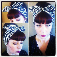 SALE Zebra one sided WIDE Headwrap Bandana Hair Bow Tie 1950s Vintage Style - Rockabilly - Pin Up - For Women, Teens