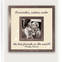 """Remember Sister Make The Best Friends 3""""x 3"""" Copper & Glass Photo Frame"""