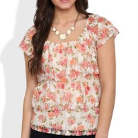 short sleeve floral print ruffle tier top with lace back