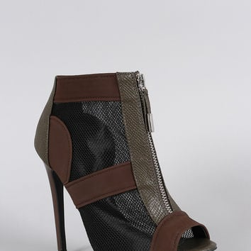 Snake Embossed Mesh Peep Toe Zip-Up Stiletto Booties