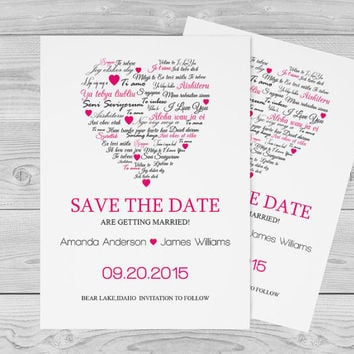 I Love You other Languages Heart Save the Date Editable PDF Templates - 5x7 Fuchsia Heart Save the Date Printable Card - DIY You Print